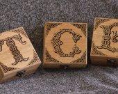 Personalized - Your Letter -  Celtic themed alder wood square jevelery box/casket