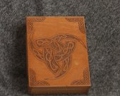 Triksel - Horns of Odin - themed wooden jevelery box/casket - book-shaped - brown