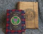 Scotland Thistle series Handmade woolen notebook in wooden box