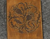 The Thistle of Scotland themed wooden jevelery box/casket - book-shaped - brown