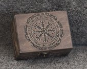 Vikings themed - The Helm of Awe - aegishjalma themed mini wooden jevelery box/casket