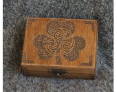 Irish themed - Clover Leaf - mini wooden jevelery box/casket