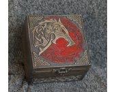 Fenrir - Ragnarok themed wooden jevelery box/casket - hidden compartment possible