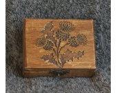 Thistle of Scotland themed mini wooden jevelery box/casket
