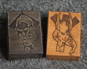 Tiwaz and Algiz - Honor and Protection - themed mini wooden jevelery box/casket set