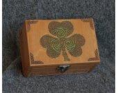 Irish themed - Clover Leaf - wooden jevelery box/casket