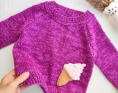 """Loose mohair chunky knit  sweater for a girl with application """"ice cream"""""""