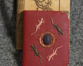 Celtic Legend series Handmade leather red paper notebook in wooden box