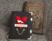 """Orwell™s """"1984"""" inspired Handmade leather white paper notebook  in wooden box"""