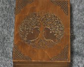 Celtic tree themed wooden jevelery box/casket - book-shaped - Brown