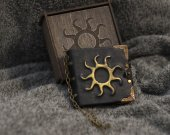 """Handmade leather black paper notebook """"The Chronicles of Nilfgaard™  in wooden box"""
