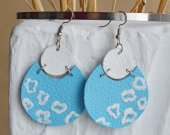 Blue and white handmade genuine leather earrings with a pattern