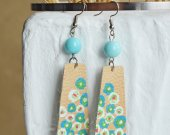 Beige with a pattern handmade genuine leather earrings