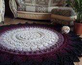 Crochet, color carpet (ivory-wine-black). Carpet to order. Handmade carpet. Round rug. Decor for home.