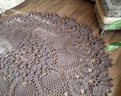 Crochet, coffee color carpet. Carpet to order. Handmade carpet. Rug. Decor for home.