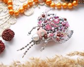 Handmade brooch pink beetle pin insect with crystals