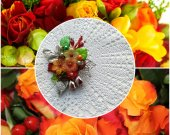 brooch red round with flowers and beads, handiwork, handmade gift
