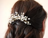 Bridal Gold Pearl Hair Comb, Wedding Hair Comb, Bridal Hair Comb, braided wire jewelry  , Beautiful classy Hair comb.