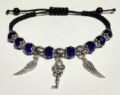 Handmade bracelet with a durable cord, with metal elements. Dark blue