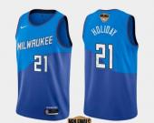 Men's Milwaukee Bucks #21 Jrue Holiday Blue City 2021 Finals Jersey