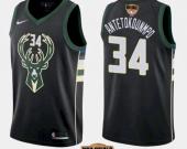 Men's Milwaukee Bucks #34 Giannis Antetokounmpo Black 2021 Finals Jersey