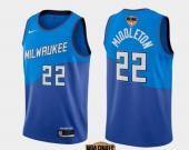 Men's Milwaukee Bucks #22 Khris Middleton Blue City 2021 Finals Jersey