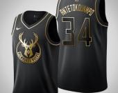 Men's Milwaukee Bucks #34 Giannis Antetokounmpo Black Golden Jersey