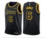 Men's Los Angeles Lakers #6 LeBron James Black The City Edition Jersey