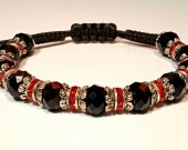 Handmade bracelet with a durable cord. Cut glass