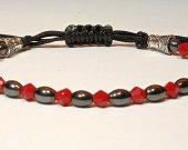 Handmade bracelet with a durable cord. Hematite