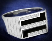 Rhodium 925 Sterling Silver Ring with AAA Grade CZ in Clear