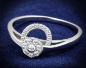 Sterling Silver Ring with AAA Grade CZ in Clear