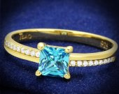 Sea Blue 925 Sterling Silver Gold Ring