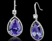 Earrings in silver with rhodium and light amethyst