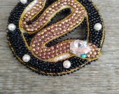 """Handmade brooch made of beads """"Snake in a black circle"""""""