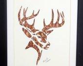 """Vintage Postage Stamp Art - """"Deer Head"""""""