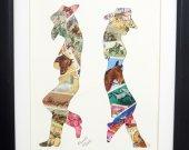 "Vintage Postage Stamp Art - ""Cowboy/Cowgirl"""