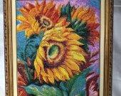 "Handmade beads embroidery ""Sunflowers"""