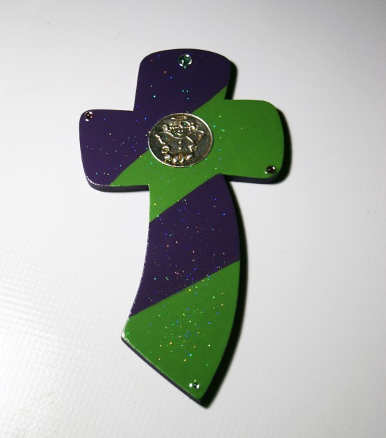 Handmade Green and Purple Wooden Cross with Little Angel