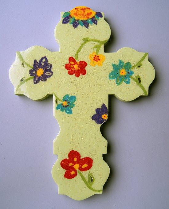 Handmade Green Wooden Cross hand painted.