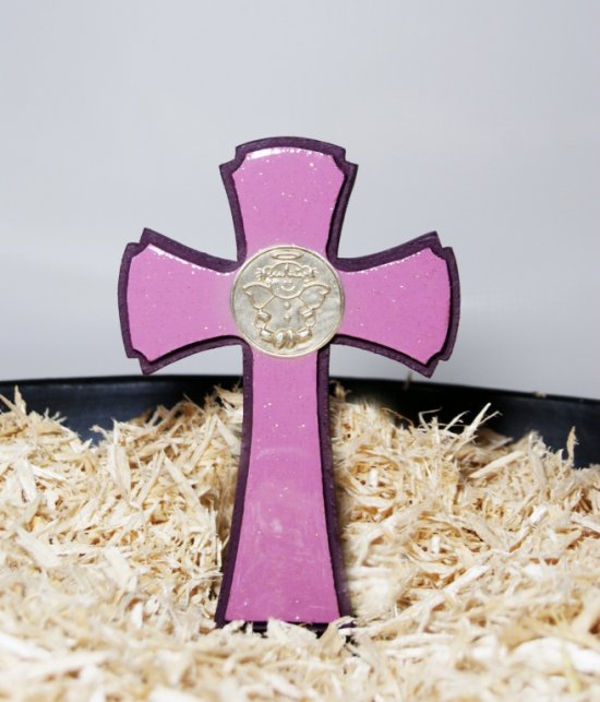 Handmade Purple Small Wooden Cross, Polyester finish and Artistic Resin