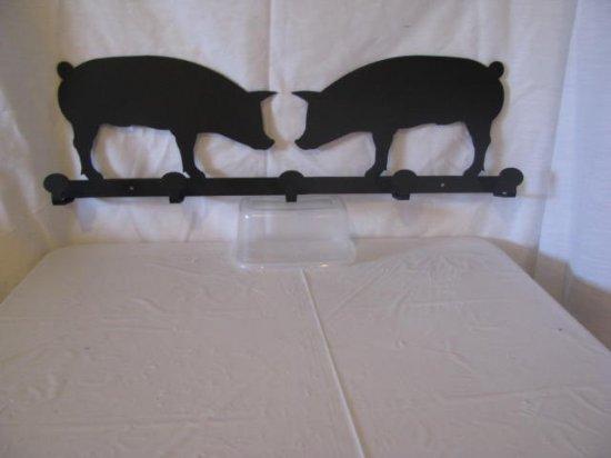 2 Pigs  Coat Rack 5 Hooks Metal Wall Art Silhouette