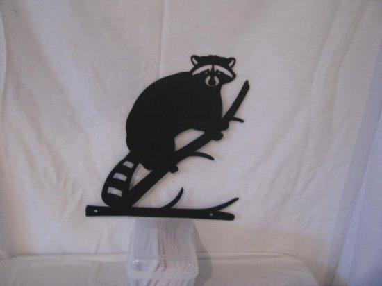 Raccoon on Limb Metal Silhouette Wildlife Wall Art