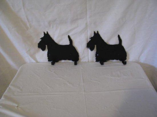 Scottish  2 Hook Leash Holder Metal Dog Wall Art Silhouette