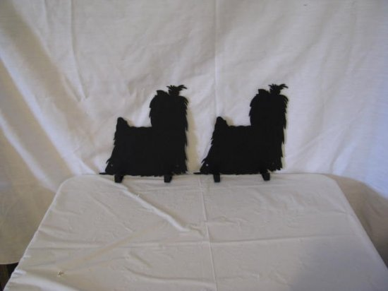 Yorkshire Terrier 2 Hook Leash Holder Metal Dog Wall Art Silhouette Set of 2