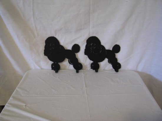 Miniature Poodle 2 Hook Leash Holder Metal Dog Art Wall Silhouette
