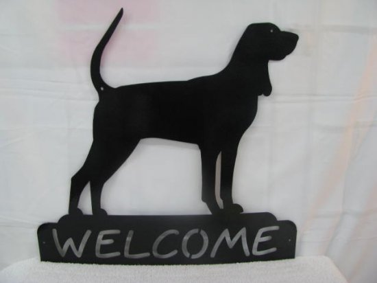 Black and Tan Welcome Metal Wall Art Silhouette