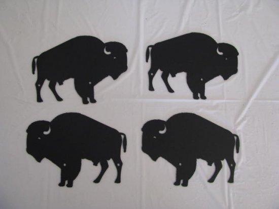 Herd of Buffalo Set (4) Metal Wall Art Silhouette Wildlife