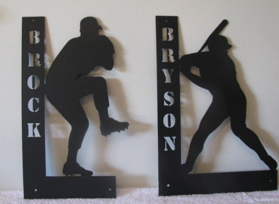 Personalize sports Wall Art Baseball Basketball Soccer Track Golf Volleyball Metal Silhouette