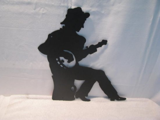 Banjo Player Metal Wall Art Silhouette
